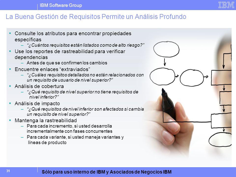 IBM Software Group Sólo para uso interno de IBM y Asociados de Negocios IBM 31 Consulte los atributos para encontrar propiedades específicas –¿Cuántos
