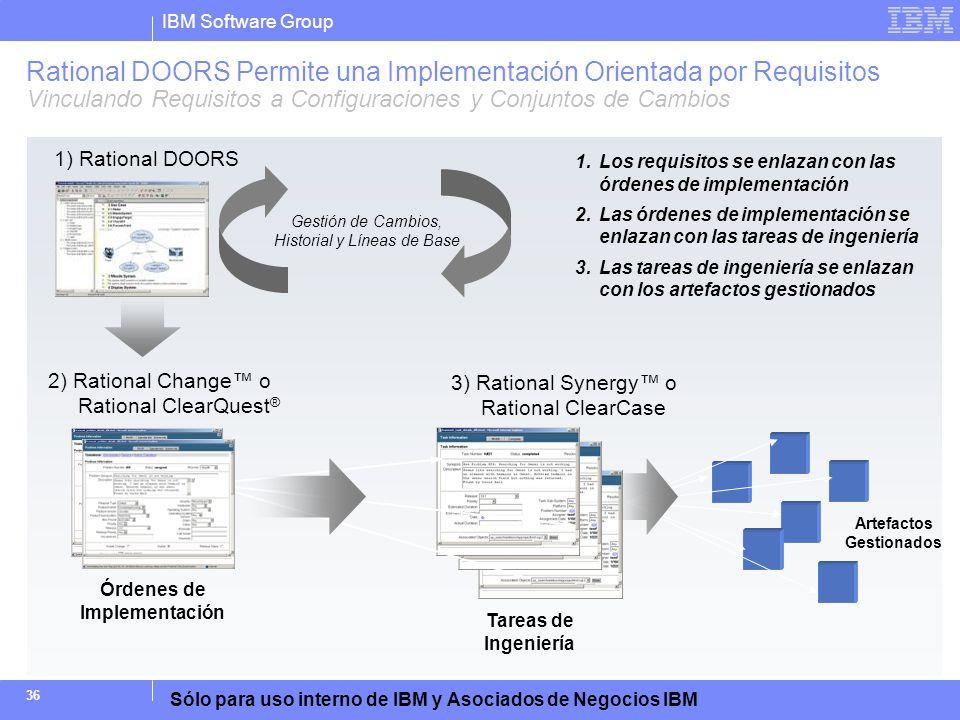 IBM Software Group Sólo para uso interno de IBM y Asociados de Negocios IBM 36 1.Los requisitos se enlazan con las órdenes de implementación 2.Las órd