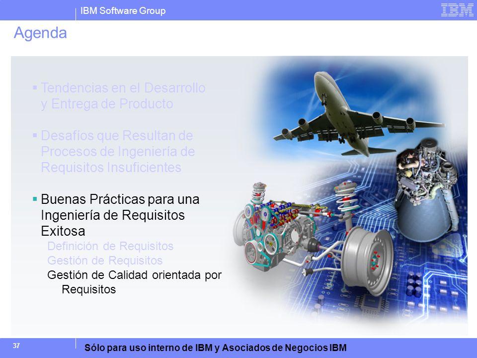IBM Software Group Sólo para uso interno de IBM y Asociados de Negocios IBM 37 Agenda Tendencias en el Desarrollo y Entrega de Producto Desafíos que R