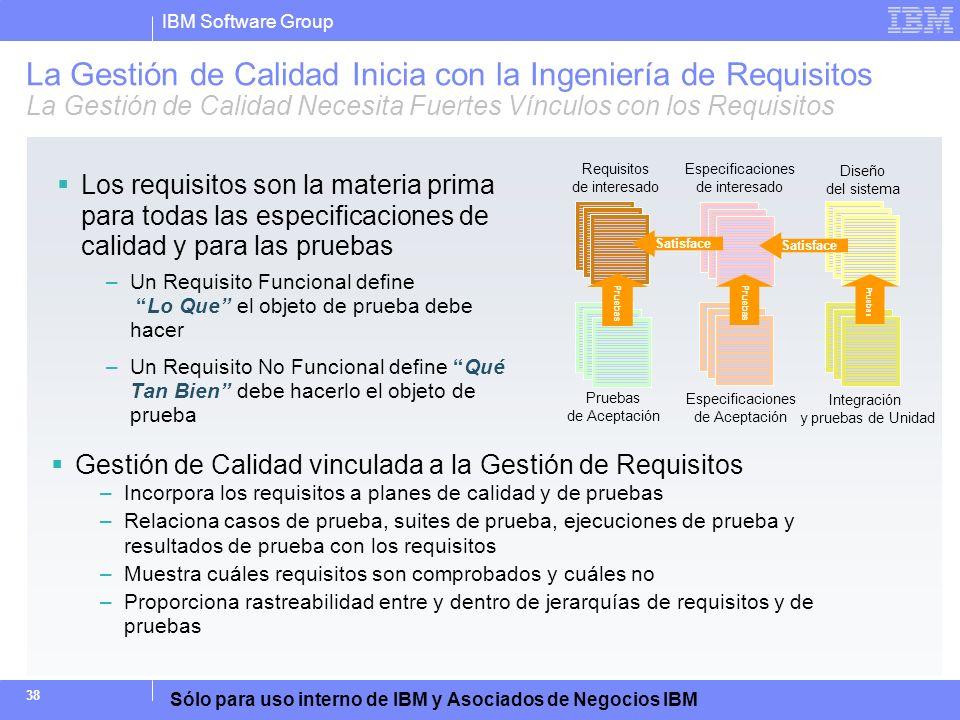 IBM Software Group Sólo para uso interno de IBM y Asociados de Negocios IBM 38 La Gestión de Calidad Inicia con la Ingeniería de Requisitos La Gestión