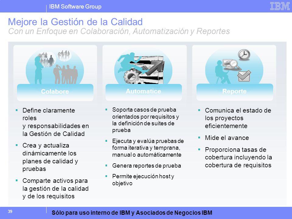 IBM Software Group Sólo para uso interno de IBM y Asociados de Negocios IBM 39 Mejore la Gestión de la Calidad Con un Enfoque en Colaboración, Automat