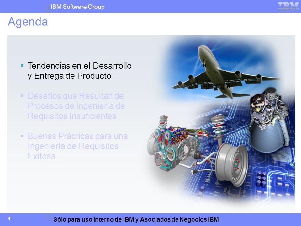 IBM Software Group Sólo para uso interno de IBM y Asociados de Negocios IBM 45 Puntos de Aprendizaje Al finalizar esta actividad, los participantes deberán estar en capacidad de: 1.Describir algunos de los desafíos clave del desarrollo de productos en el sector industrial 2.Describir los desafíos de la ingeniería de requisitos 3.Describir en dónde encaja la ingeniería de requisitos dentro del proceso de desarrollo de producto 4.Describir por qué fallan los procesos de requisitos y las razones comunes por las que fallan los productos 5.Describir los beneficios de un enfoque mejorado de la ingeniería de requisitos 6.Listar los componentes de una solución de ingeniería de requisitos 7.Describir las capacidades clave y los beneficios de Rational DOORS, Rational Requirements Composer y Rational Quality Manager como parte de la solución de Ingeniería de Requisitos de IBM