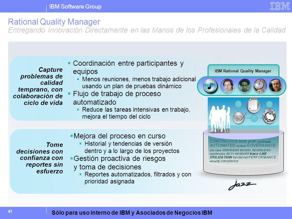 IBM Software Group Sólo para uso interno de IBM y Asociados de Negocios IBM 41 Capture problemas de calidad temprano, con colaboración de ciclo de vid