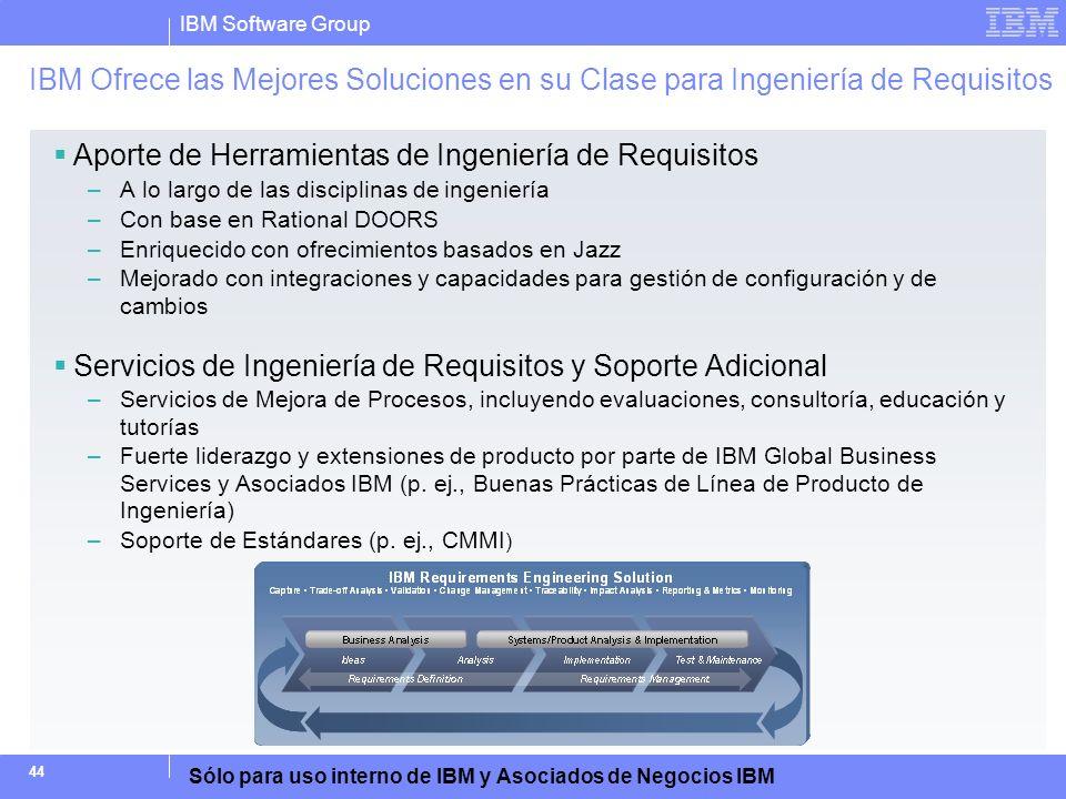 IBM Software Group Sólo para uso interno de IBM y Asociados de Negocios IBM 44 IBM Ofrece las Mejores Soluciones en su Clase para Ingeniería de Requis