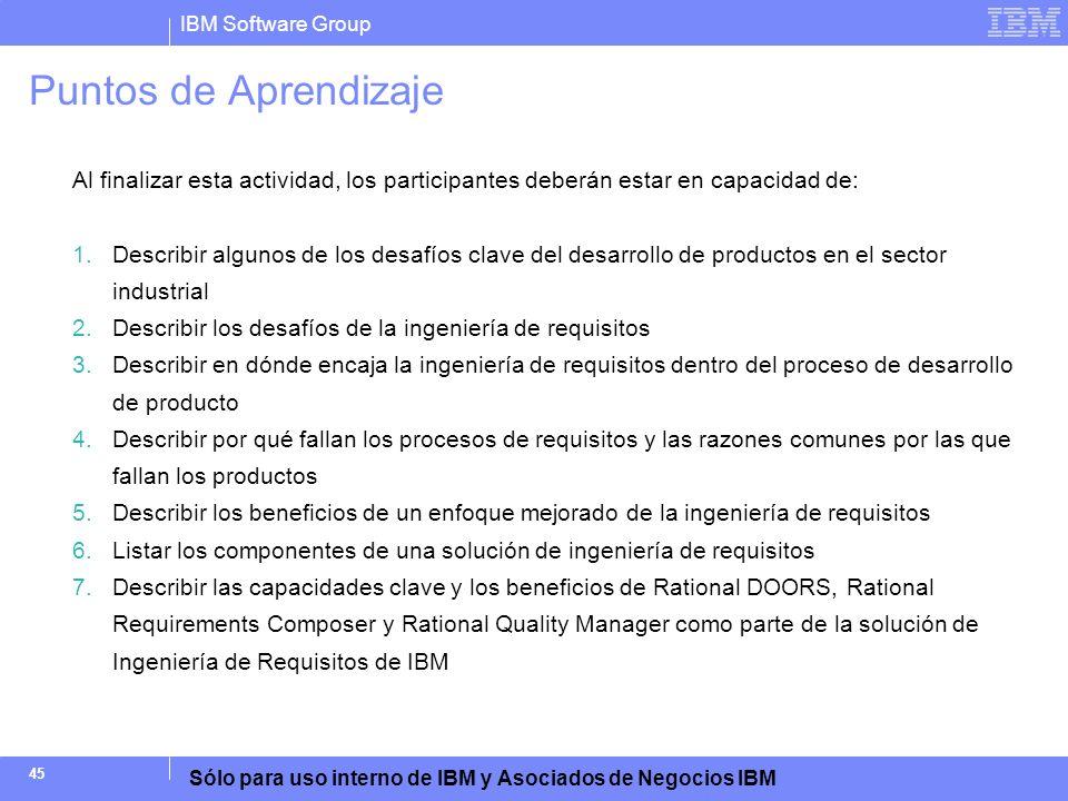 IBM Software Group Sólo para uso interno de IBM y Asociados de Negocios IBM 45 Puntos de Aprendizaje Al finalizar esta actividad, los participantes de