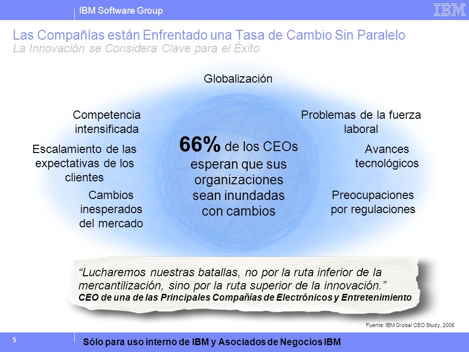 IBM Software Group Sólo para uso interno de IBM y Asociados de Negocios IBM 16 No hay una diferenciación clara de los productos Asignación de precio Calidad del producto Comercialización / promoción inadecuada Llegada tarde al mercado/pérdida de demanda El producto pasó por alto necesidades de los clientes 19% 23% 24% 26% 33% 46% 49% Mejorar la comunicación y colaboración entre las disciplinas Aumentar la visibilidad del estado de los requisitos Aumentar la capacidad para predecir el comportamiento del sistema antes de las pruebas Implementar o cambiar los procesos de desarrollo de nuevos productos para un enfoque multidisciplinario Aumentar la visibilidad en tiempo real de la Lista de Materiales (BOM) del producto en todo el proceso de desarrollo 71% 46% 39% 43% ¿Qué Hay Detrás de Estas Fallas y del Aumento de los Costos.