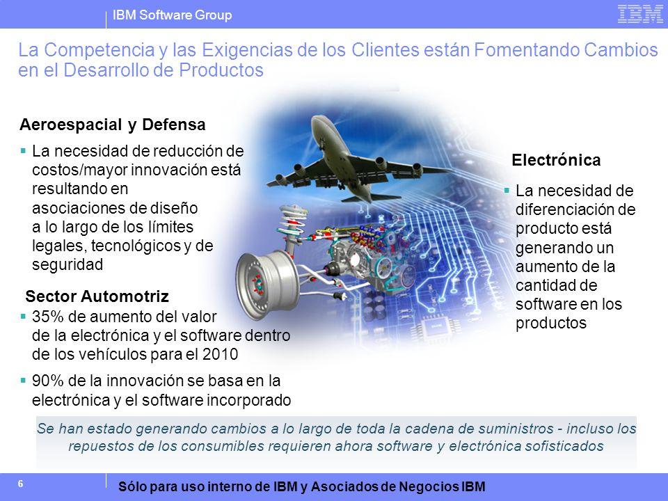 IBM Software Group Sólo para uso interno de IBM y Asociados de Negocios IBM 6 Electrónica Aeroespacial y Defensa 35% de aumento del valor de la electr