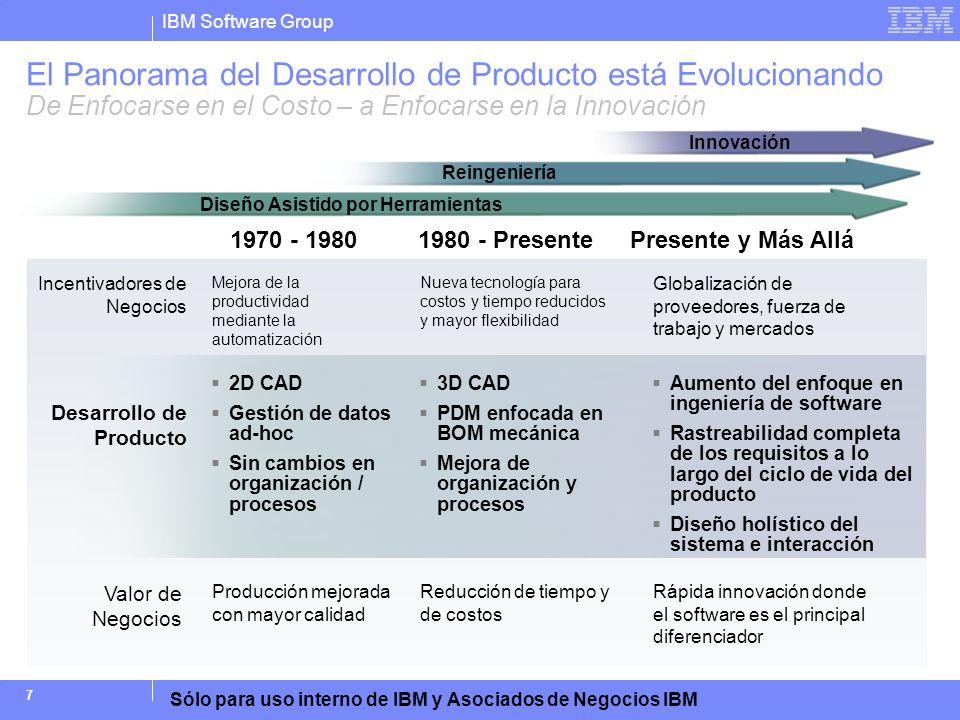 IBM Software Group Sólo para uso interno de IBM y Asociados de Negocios IBM 8 Agenda Tendencias en el Desarrollo y Entrega de Producto Desafíos que Resultan de Procesos de Ingeniería de Requisitos Insuficientes Buenas Prácticas para una Ingeniería de Requisitos Exitosa