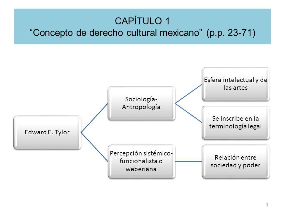 CAPÍTULO 1 Concepto de derecho cultural mexicano (p.p. 23-71) 4 Edward E. Tylor Sociología- Antropología Esfera intelectual y de las artes Se inscribe