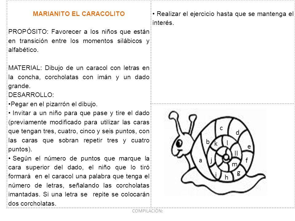 MARIANITO EL CARACOLITO PROPÓSITO: Favorecer a los niños que están en transición entre los momentos silábicos y alfabético. MATERIAL: Dibujo de un car