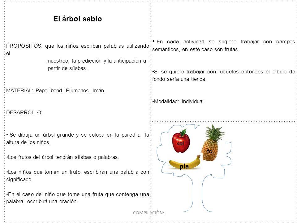 El árbol sabio PROPÒSITOS: que los niños escriban palabras utilizando el muestreo, la predicción y la anticipación a partir de sílabas. MATERIAL: Pape
