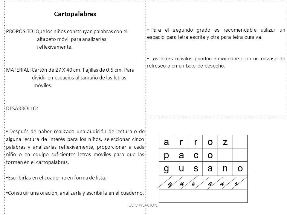 Cartopalabras PROPÒSITO: Que los niños construyan palabras con el alfabeto móvil para analizarlas reflexivamente. MATERIAL: Cartòn de 27 X 40 cm. Faji