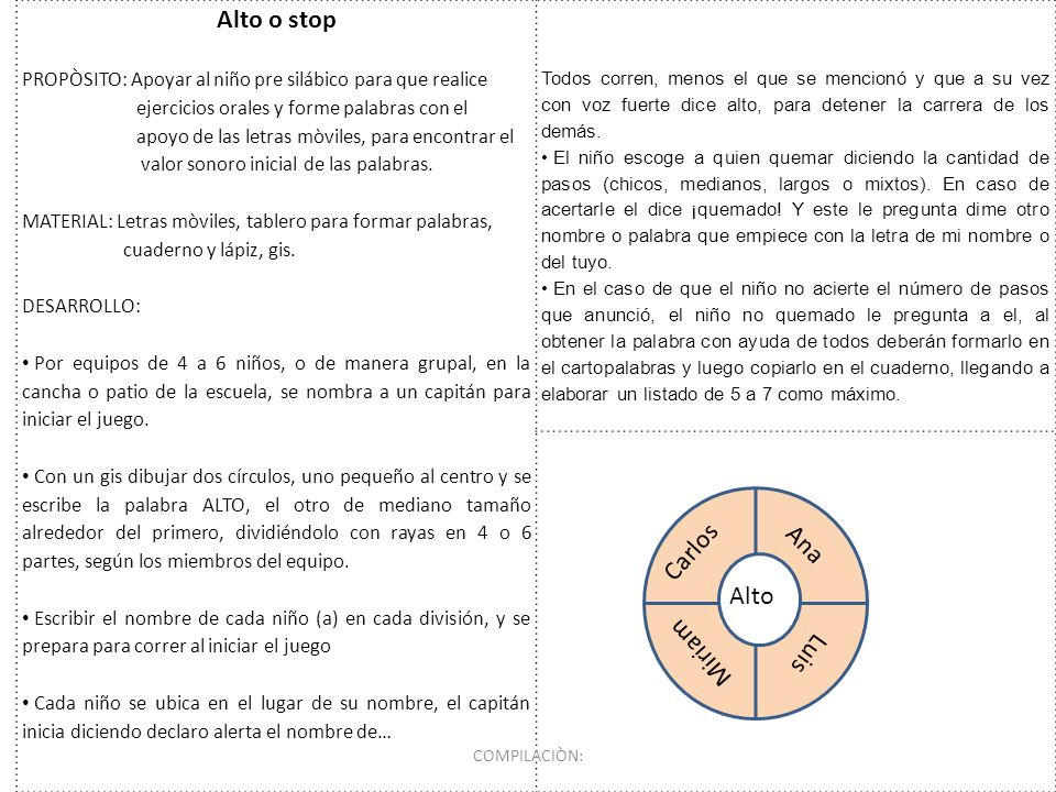 Alto o stop PROPÒSITO: Apoyar al niño pre silábico para que realice ejercicios orales y forme palabras con el apoyo de las letras mòviles, para encont