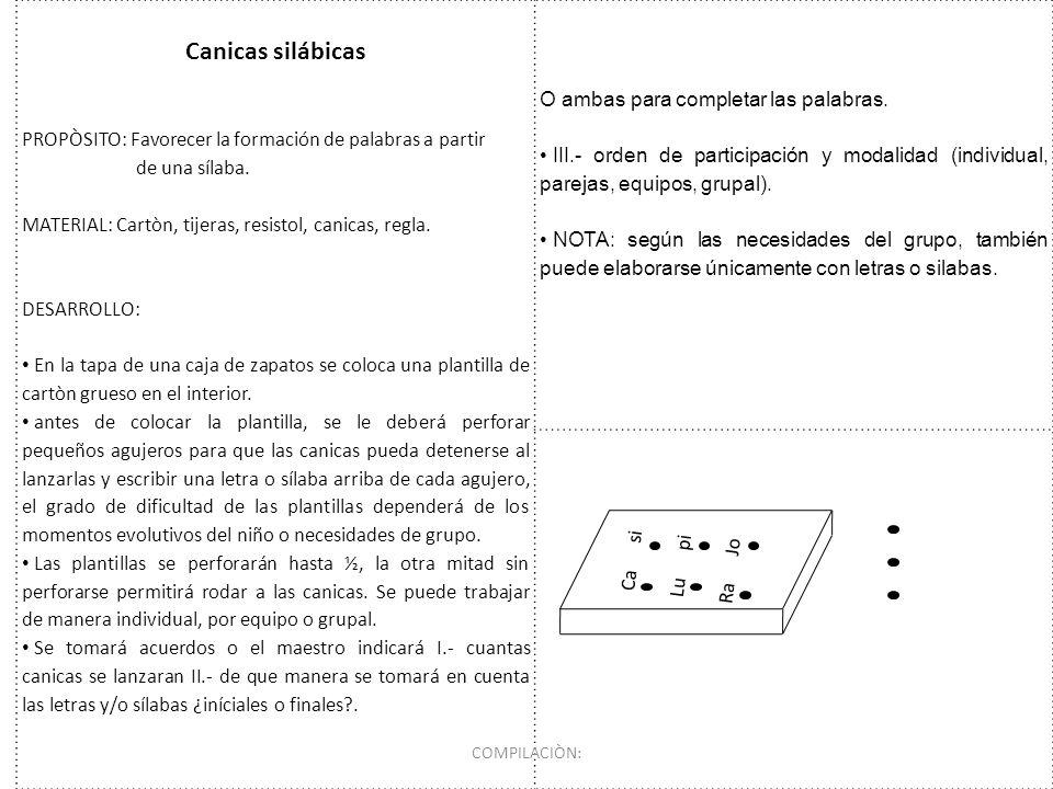 Canicas silábicas PROPÒSITO: Favorecer la formación de palabras a partir de una sílaba. MATERIAL: Cartòn, tijeras, resistol, canicas, regla. DESARROLL
