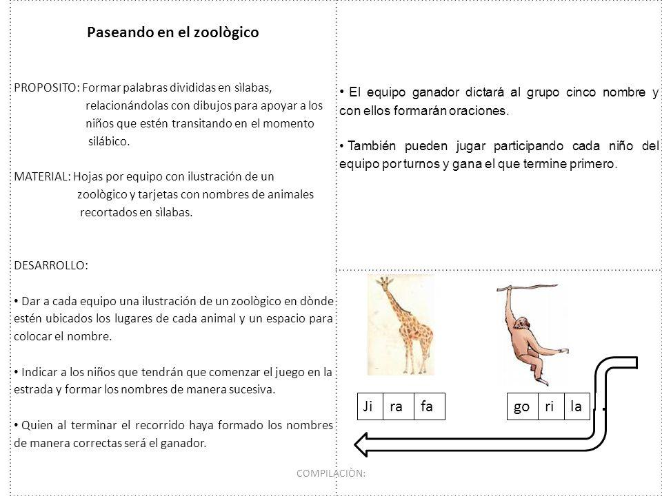 Paseando en el zoològico PROPOSITO: Formar palabras divididas en sìlabas, relacionándolas con dibujos para apoyar a los niños que estén transitando en