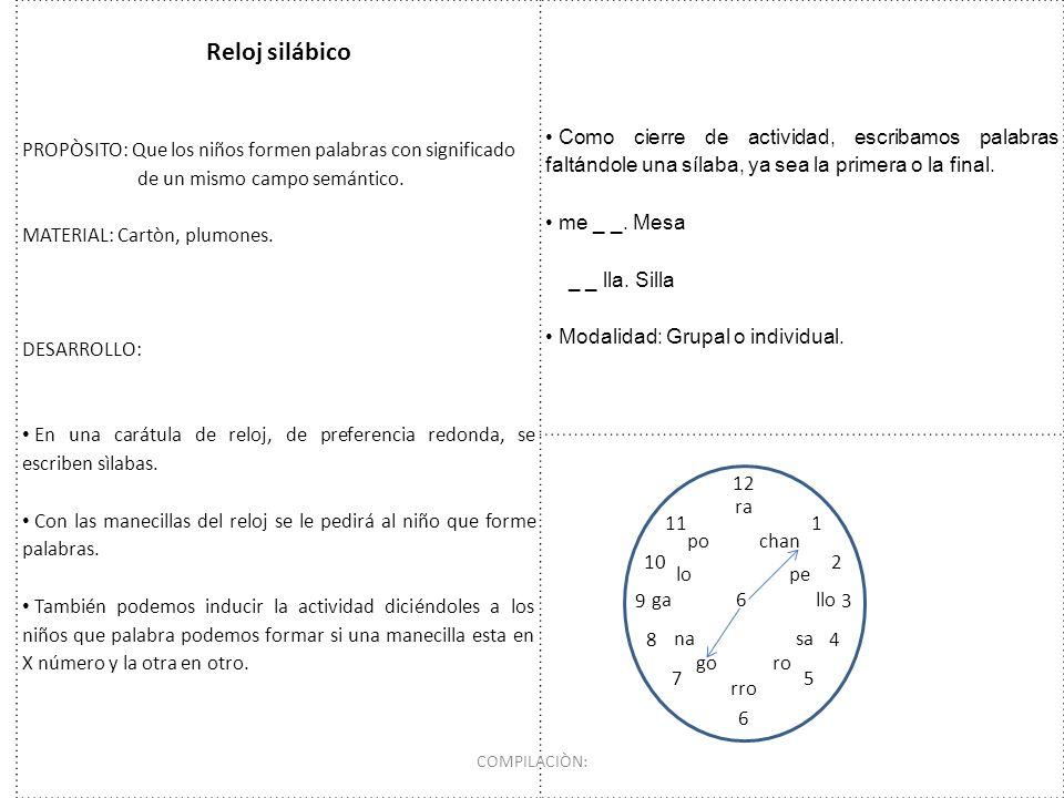 Reloj silábico PROPÒSITO: Que los niños formen palabras con significado de un mismo campo semántico. MATERIAL: Cartòn, plumones. DESARROLLO: En una ca
