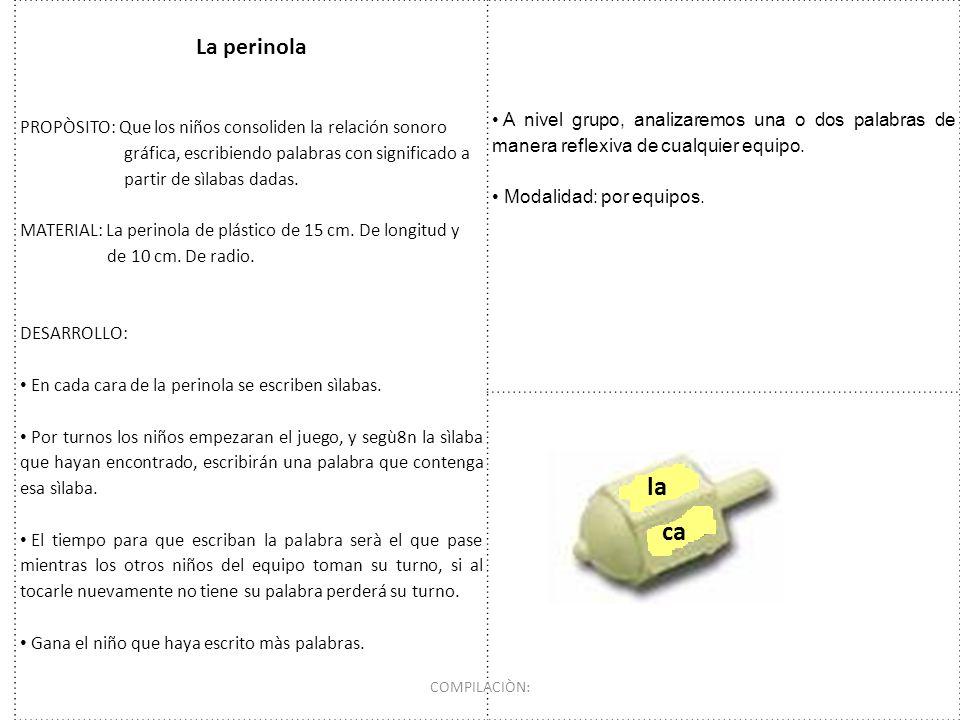 La perinola PROPÒSITO: Que los niños consoliden la relación sonoro gráfica, escribiendo palabras con significado a partir de sìlabas dadas. MATERIAL: