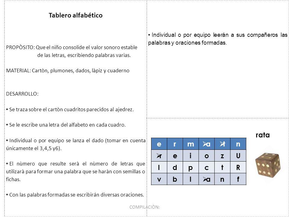Tablero alfabético PROPÒSITO: Que el niño consolide el valor sonoro estable de las letras, escribiendo palabras varias. MATERIAL: Cartòn, plumones, da