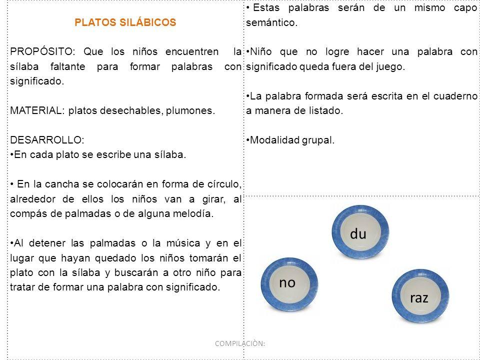 PLATOS SILÁBICOS PROPÓSITO: Que los niños encuentren la sílaba faltante para formar palabras con significado. MATERIAL: platos desechables, plumones.