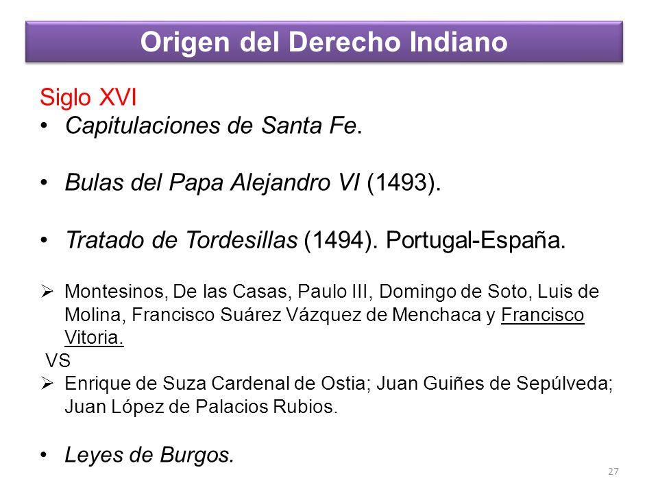 Siglo XVI Capitulaciones de Santa Fe. Bulas del Papa Alejandro VI (1493). Tratado de Tordesillas (1494). Portugal-España. Montesinos, De las Casas, Pa