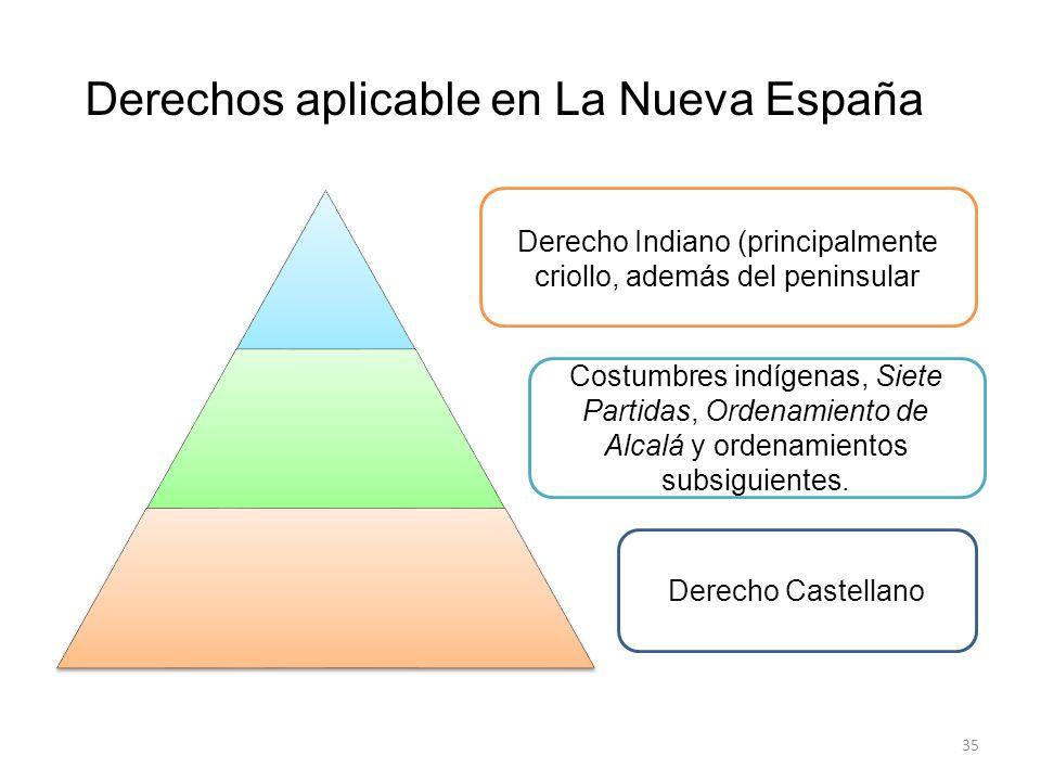 35 Derecho Indiano (principalmente criollo, además del peninsular Costumbres indígenas, Siete Partidas, Ordenamiento de Alcalá y ordenamientos subsigu