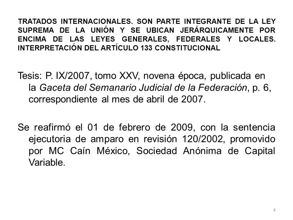 TRATADOS INTERNACIONALES. SON PARTE INTEGRANTE DE LA LEY SUPREMA DE LA UNIÓN Y SE UBICAN JERÁRQUICAMENTE POR ENCIMA DE LAS LEYES GENERALES, FEDERALES