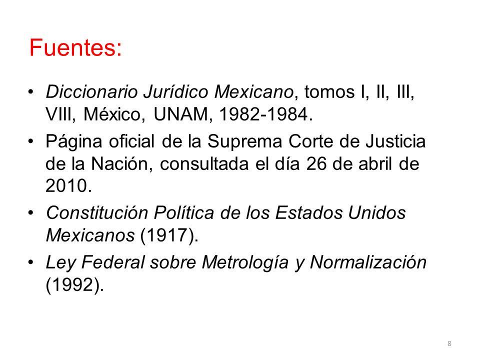 Fuentes: Diccionario Jurídico Mexicano, tomos I, II, III, VIII, México, UNAM, 1982-1984. Página oficial de la Suprema Corte de Justicia de la Nación,