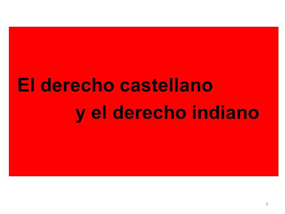 El inicio… dos monarcas. Derecho Castellano. Derecho Indiano. A. Peninsular o metropolitano. B. Criollo Novohispano. Derecho Indígena. 9 El derecho ca