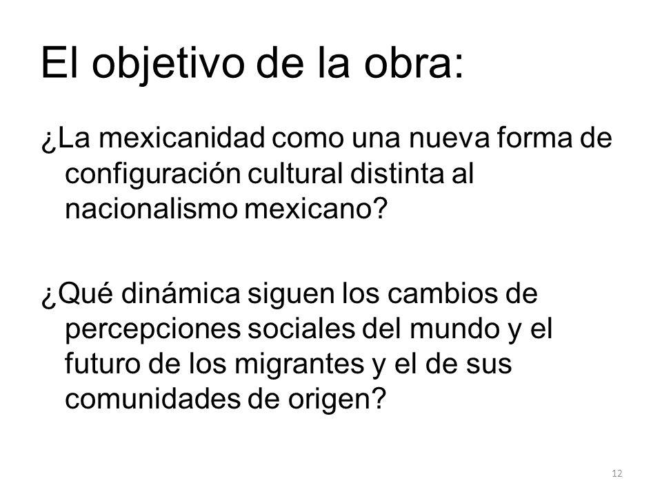 El objetivo de la obra: ¿La mexicanidad como una nueva forma de configuración cultural distinta al nacionalismo mexicano? ¿Qué dinámica siguen los cam