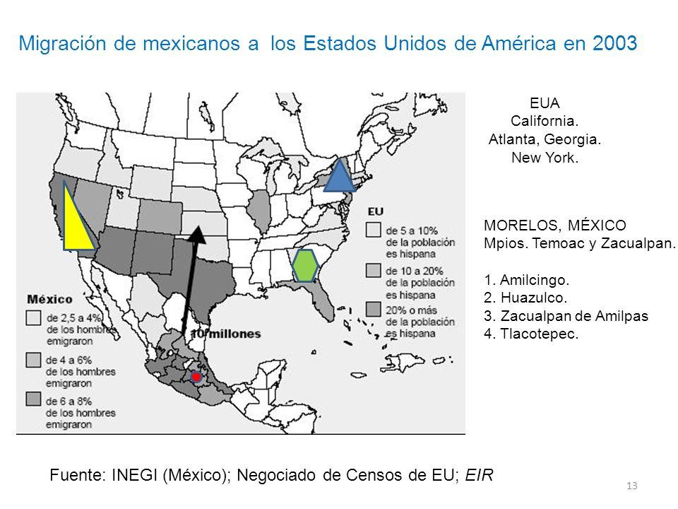 13 Fuente: INEGI (México); Negociado de Censos de EU; EIR Migración de mexicanos a los Estados Unidos de América en 2003 EUA California. Atlanta, Geor
