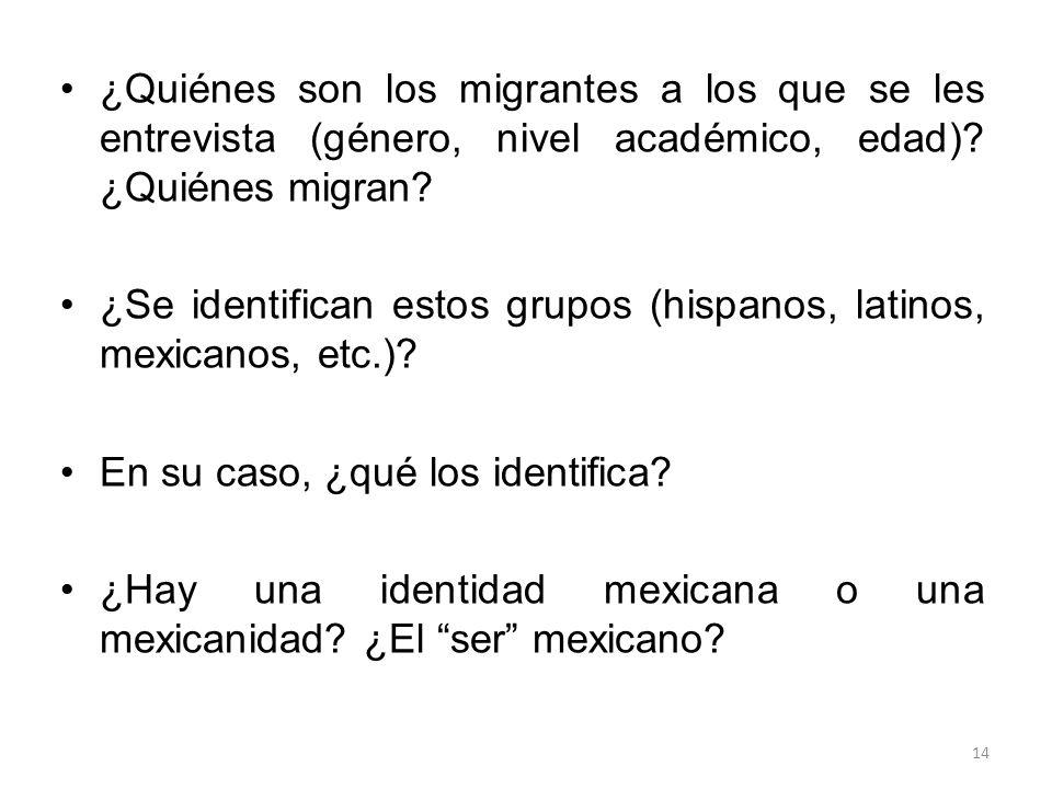 ¿Quiénes son los migrantes a los que se les entrevista (género, nivel académico, edad)? ¿Quiénes migran? ¿Se identifican estos grupos (hispanos, latin