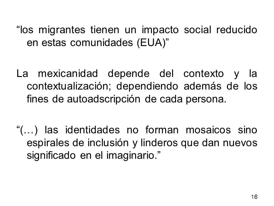 los migrantes tienen un impacto social reducido en estas comunidades (EUA) La mexicanidad depende del contexto y la contextualización; dependiendo ade