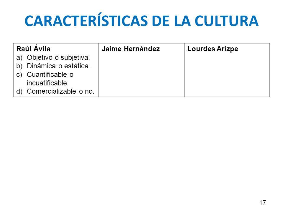 CARACTERÍSTICAS DE LA CULTURA 17 Raúl Ávila a)Objetivo o subjetiva. b)Dinámica o estática. c)Cuantificable o incuatificable. d)Comercializable o no. J