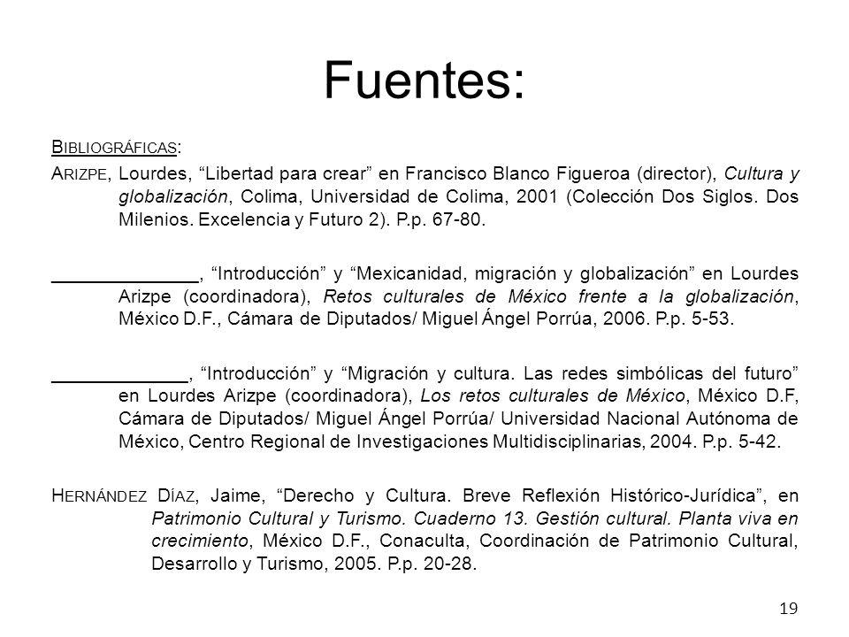 Fuentes: B IBLIOGRÁFICAS : A RIZPE, Lourdes, Libertad para crear en Francisco Blanco Figueroa (director), Cultura y globalización, Colima, Universidad