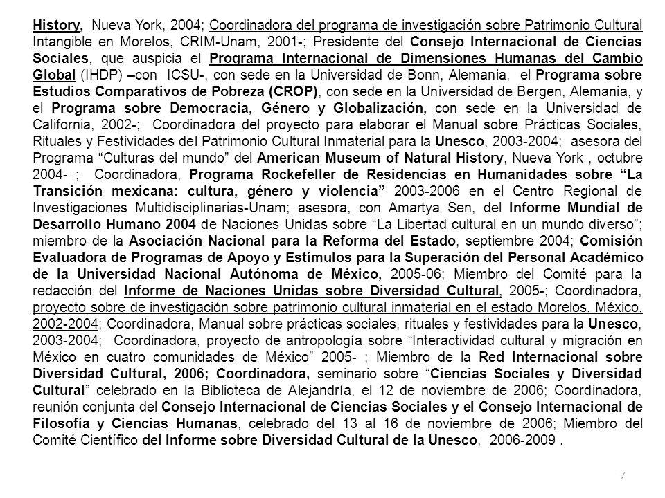 7 History, Nueva York, 2004; Coordinadora del programa de investigación sobre Patrimonio Cultural Intangible en Morelos, CRIM-Unam, 2001-; Presidente