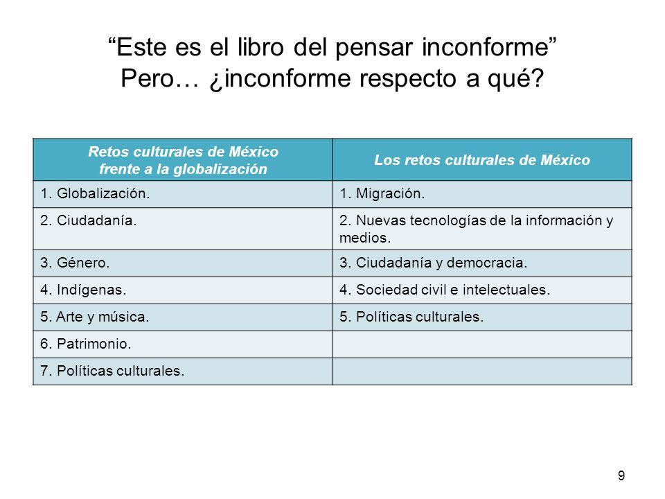 Este es el libro del pensar inconforme Pero… ¿inconforme respecto a qué? Retos culturales de México frente a la globalización Los retos culturales de