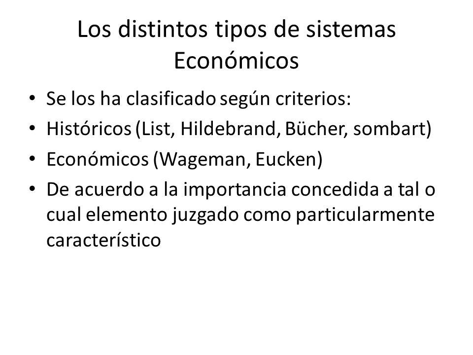 Los distintos tipos de sistemas Económicos Se los ha clasificado según criterios: Históricos (List, Hildebrand, Bücher, sombart) Económicos (Wageman,