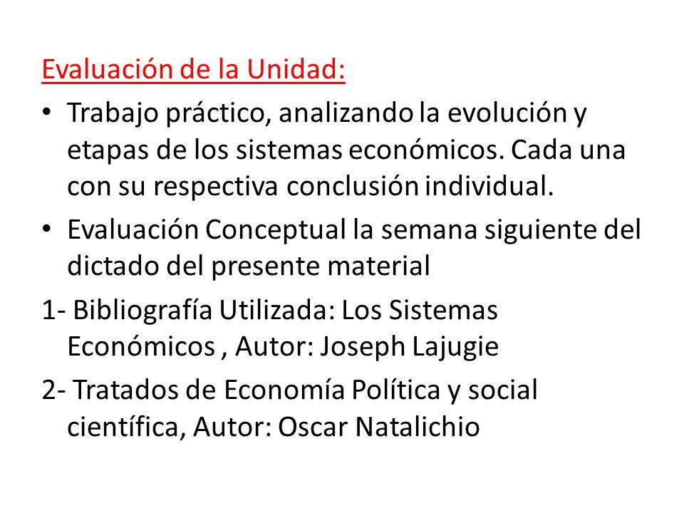 Evaluación de la Unidad: Trabajo práctico, analizando la evolución y etapas de los sistemas económicos. Cada una con su respectiva conclusión individu