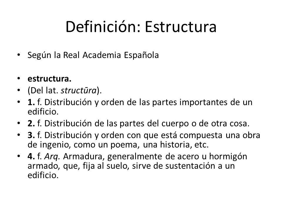 Definición: Estructura Según la Real Academia Española estructura. (Del lat. structūra). 1. f. Distribución y orden de las partes importantes de un ed