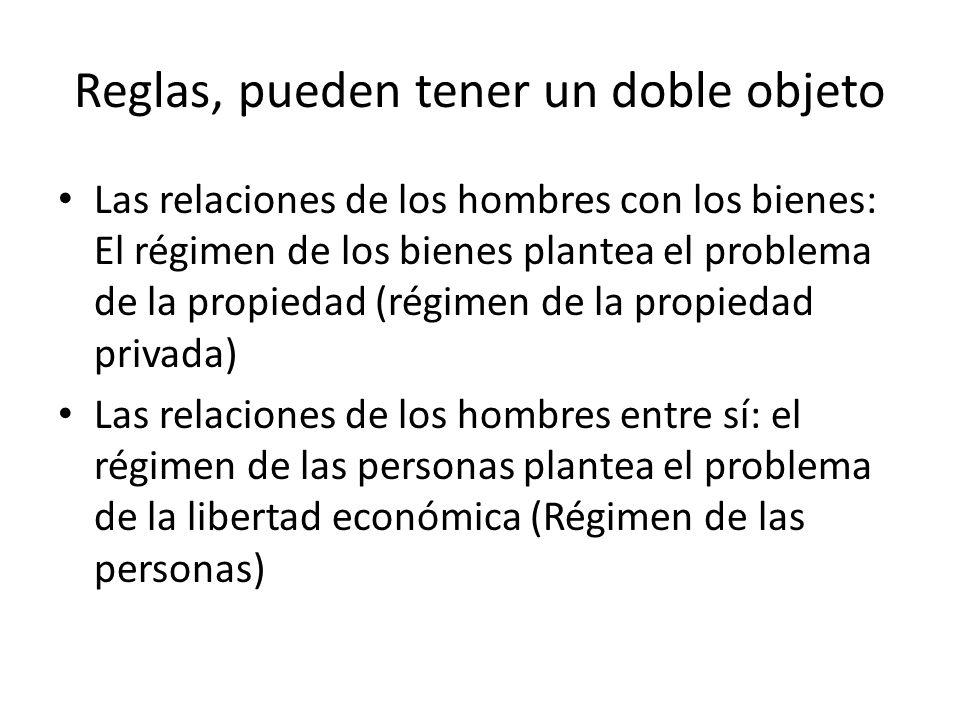Reglas, pueden tener un doble objeto Las relaciones de los hombres con los bienes: El régimen de los bienes plantea el problema de la propiedad (régim