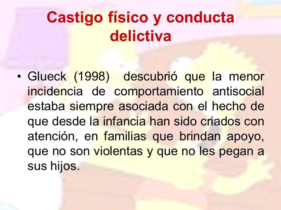 Castigo físico y conducta delictiva Glueck (1998) descubrió que la menor incidencia de comportamiento antisocial estaba siempre asociada con el hecho