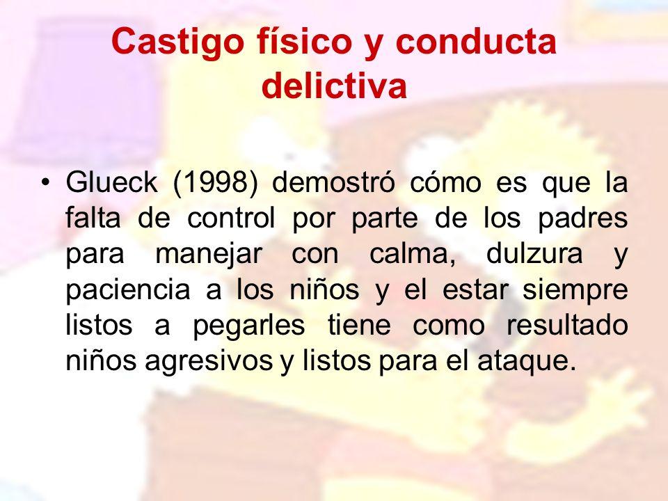 Castigo físico y conducta delictiva Glueck (1998) demostró cómo es que la falta de control por parte de los padres para manejar con calma, dulzura y p
