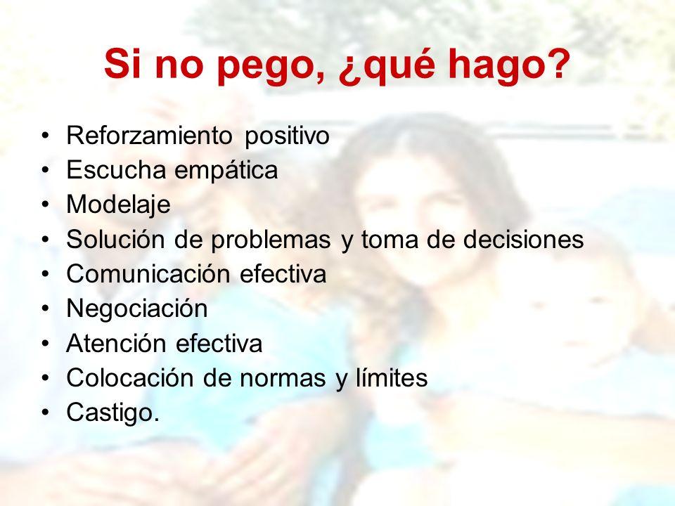 Si no pego, ¿qué hago? Reforzamiento positivo Escucha empática Modelaje Solución de problemas y toma de decisiones Comunicación efectiva Negociación A