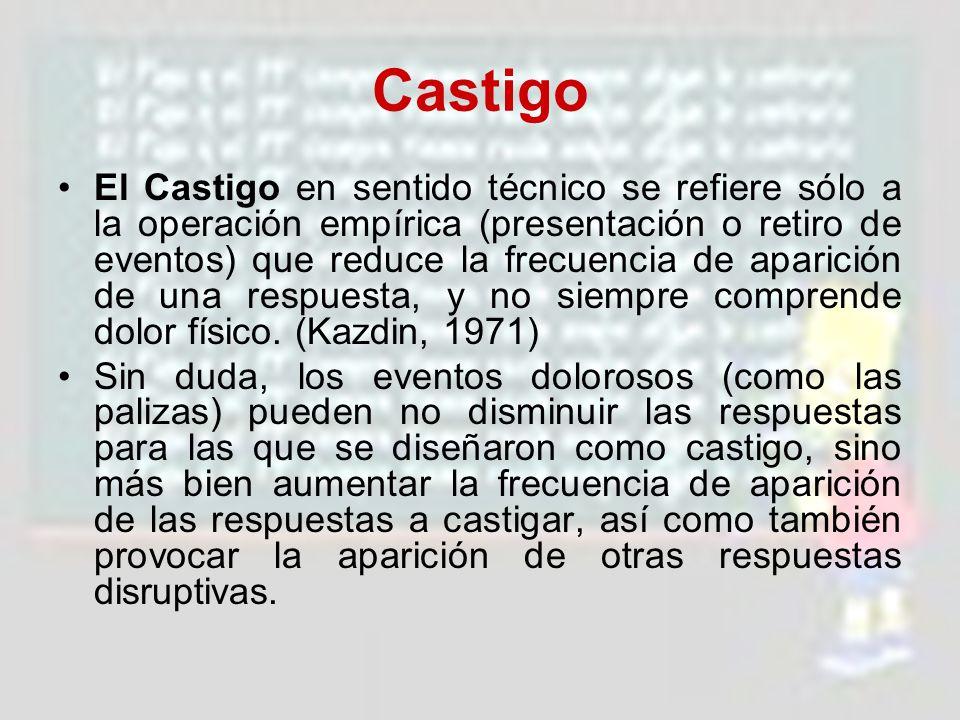 Castigo El Castigo en sentido técnico se refiere sólo a la operación empírica (presentación o retiro de eventos) que reduce la frecuencia de aparición