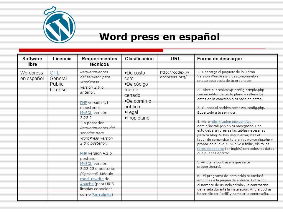 Word press en español Software libre LicenciaRequerimientos técnicos ClasificaciónURLForma de descargar Wordpress en español GPLGPL: General Public License Requerimientos del servidor para WordPress versión 2.0 o anterior: PHPPHP versión 4.1 o posterior MySQLMySQL versión 3.23.2 3 o posterior Requerimientos del servidor para WordPress versión 2.0 o posterior: PHPPHP versión 4.2 o posterior MySQLMySQL versión 3.23.23 o posterior (Opcional) Módulo mod_rewritemod_rewrite de ApacheApache (para URIS limpias conocidas como Permalinks)Permalinks De costo cero De código fuente cerrado De dominio publico Legal Propietario http://codex.w ordpress.org/ 1.-Descarga el paquete de la última Versión WordPress y descomprímelo en unacarpeta vacía de tu ordenador.