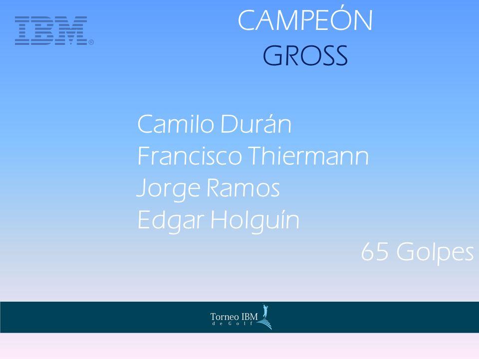 CAMPEÓN GROSS Camilo Durán Francisco Thiermann Jorge Ramos Edgar Holguín 65 Golpes
