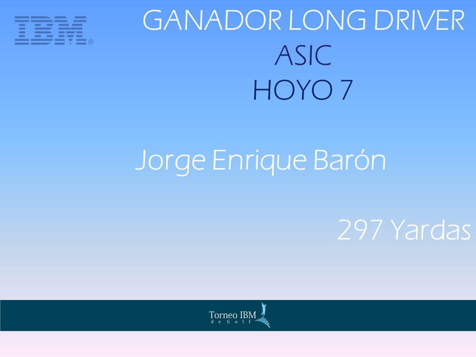 GANADOR LONG DRIVER ASIC HOYO 7 Jorge Enrique Barón 297 Yardas