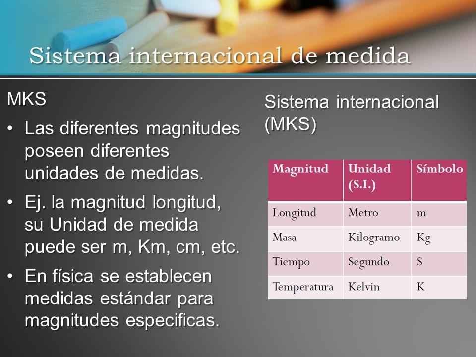 Sistema internacional de medida MKS Las diferentes magnitudes poseen diferentes unidades de medidas.Las diferentes magnitudes poseen diferentes unidades de medidas.