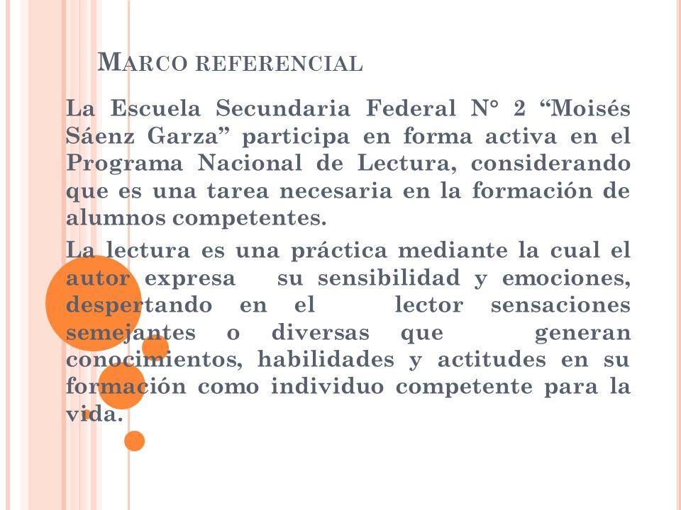 M ARCO REFERENCIAL La Escuela Secundaria Federal N° 2 Moisés Sáenz Garza participa en forma activa en el Programa Nacional de Lectura, considerando qu