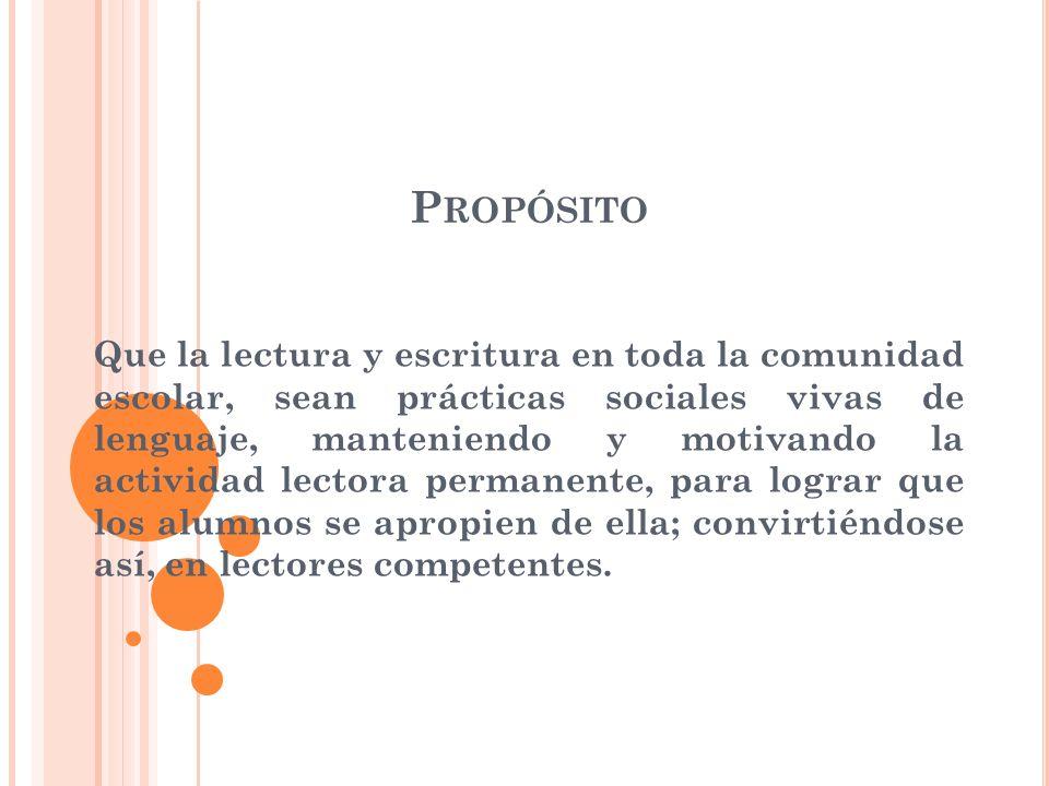 M ETA : Que durante el ciclo escolar 2009-2010, se realice la lectura de un mínimo de cinco obras literarias, estableciendo leer un texto por bimestre.